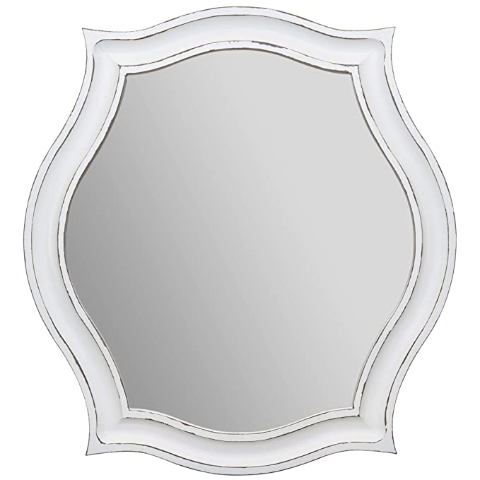Everly Hart Collection Whitewash Scallop Framed Wall Mirrors, White