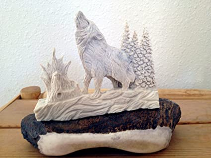 Wood carved wolf etsy