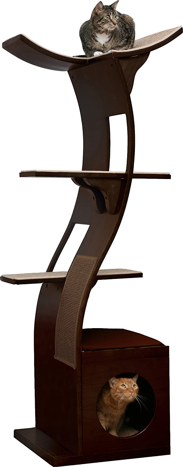 Amazon.com : The Refined Feline Lotus Cat Tower in Espresso : Cat Tree :  Pet Supplies