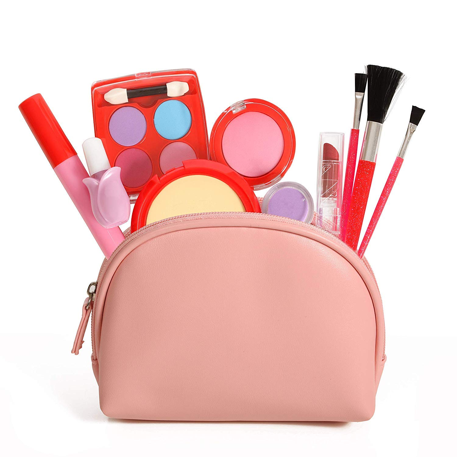Pretend Makeup Kit, 11 Piece Set Leather Look Bag and Mirror by Dress 2 Play