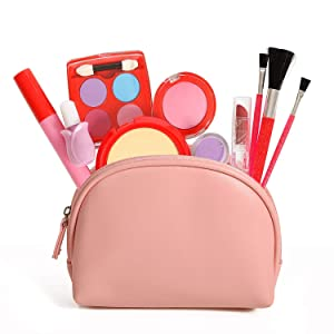 Pretend Makeup Kit, 11 Piece Set Leather Look Bag and Mirror