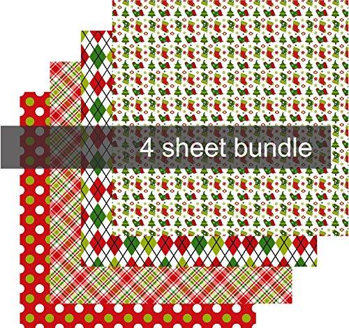 Christmas Pattern Vinyl, Christmas Vinyl for Cameo, Adhesive Vinyl Print, 4-12