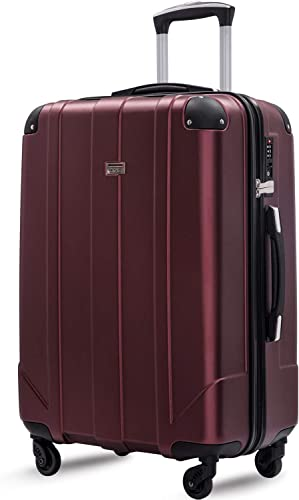 Merax Hardside Spinner Luggage with Built-in TSA and Reinforced Corners, Eco-friendly P.E.T Light Weight Carry-On 20 24 28 Suitcases 28 inch, Mahogany Red