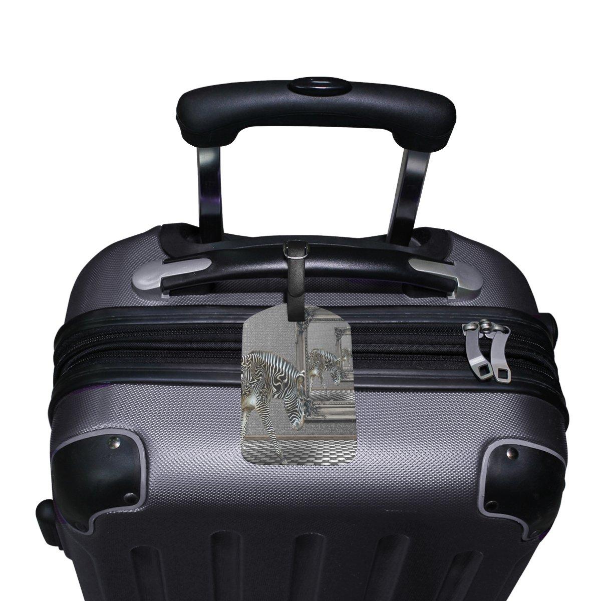 Saobao Travel Luggage Tag Zebra PU Leather Baggage Suitcase Travel ID Bag Tag 1Pcs