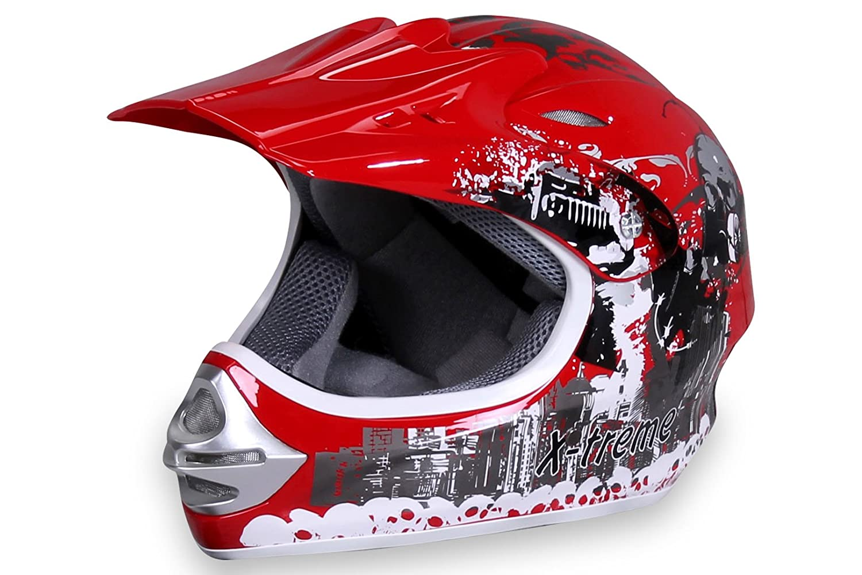Actionbikes Motorradhelm X-Treme Kinder Cross Helme Sturzhelm Schutzhelm Helm fü r Motorrad Kinderquad und Crossbike Modell in rot (X-Small) BLD-818