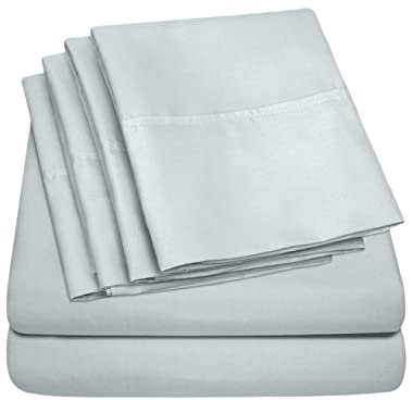 Sweet Home Collection Quality Deep Pocket Bed Sheet Set - 2 EXTRA PILLOW CASES, VALUE, Twin, Porclain Blue, 4 Piece