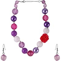 NeedyBee 2 Pc Jewellery Set for Little Girls with Pearl and Beads (Purple/White and Fuchsia)