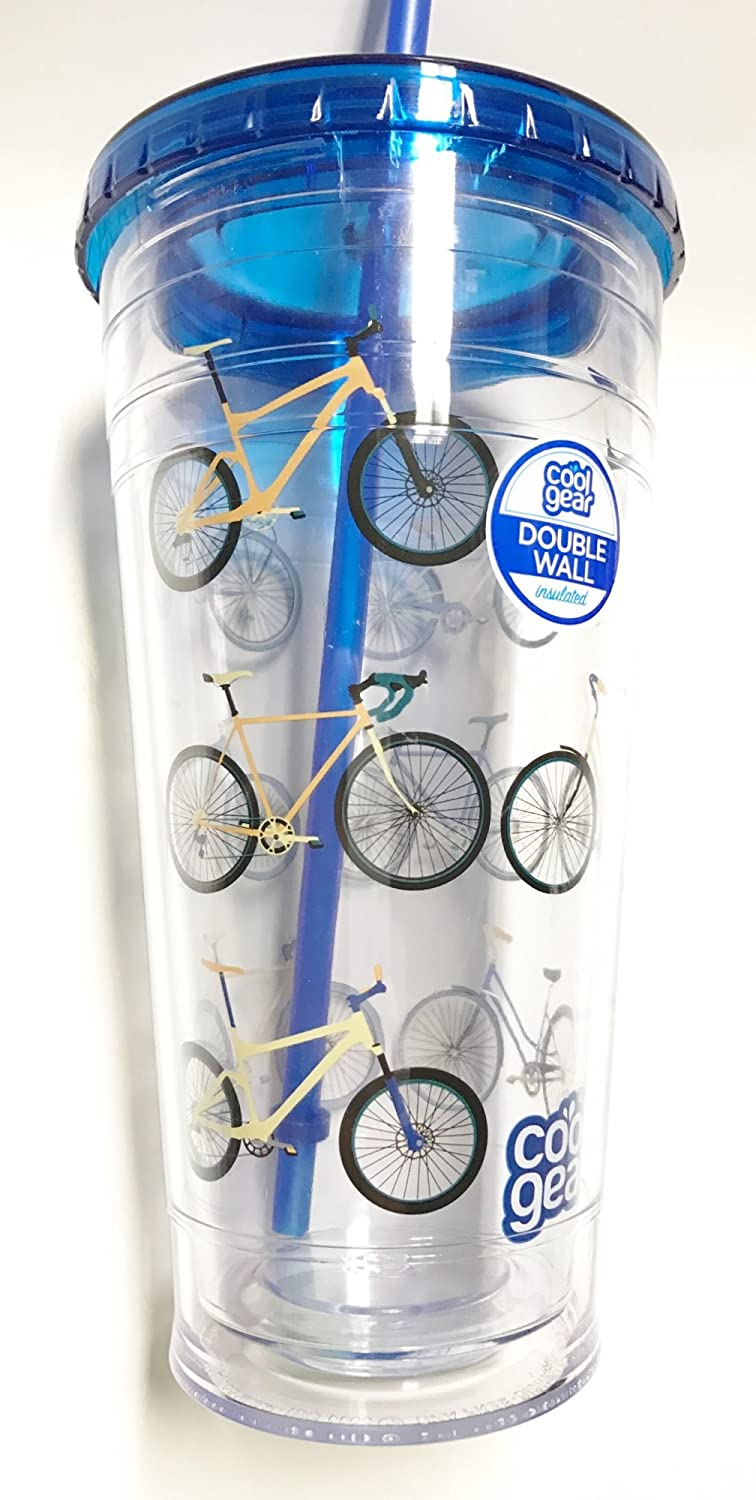 Cool Gear 24oz Double Wall Tumbler Blue Lid and Straw - Bicycles