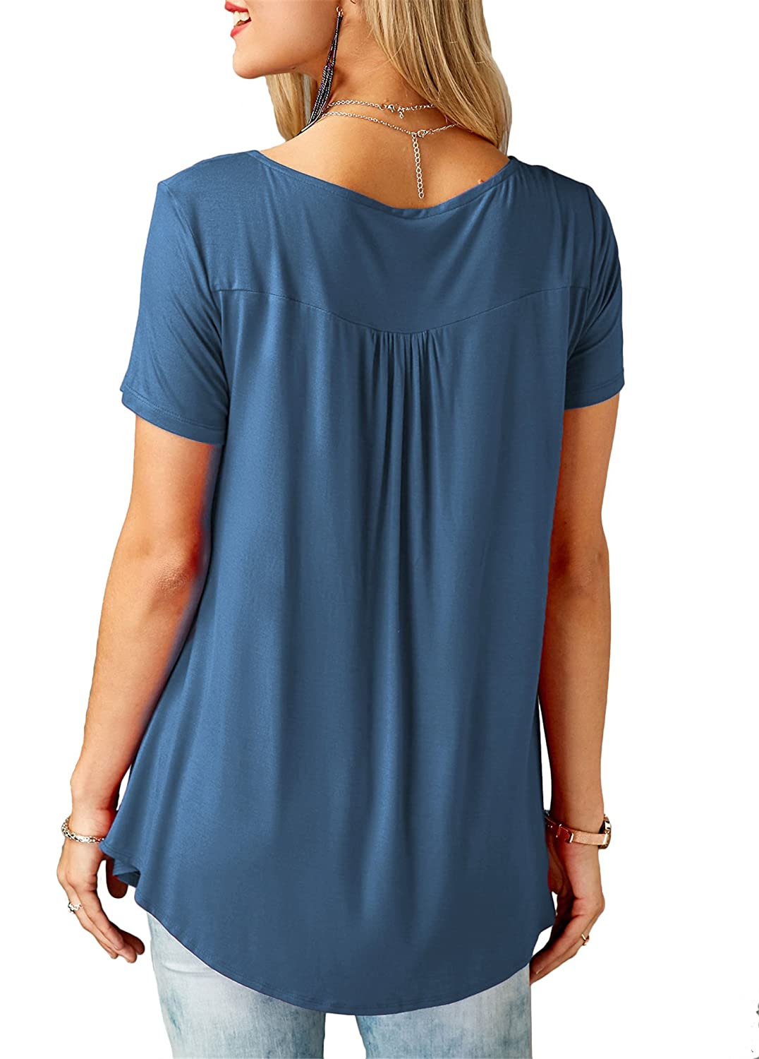 onlypuff Womens Short Long Sleeve Shirts Ruffle Casual Blouse Tunic Tops Solid Color