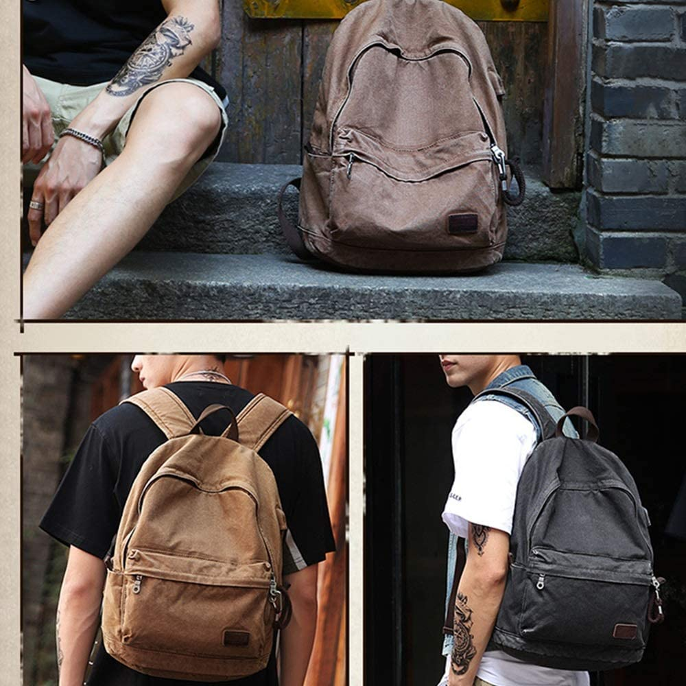 Anti-Thef Backpack Mens Casual Backpack School Laptop Backpack Canvas Polyester Rucksack Casual Hiking Travel College Bag Fit 15.6 Inch Laptop Travel Laptop Backpack Laptop