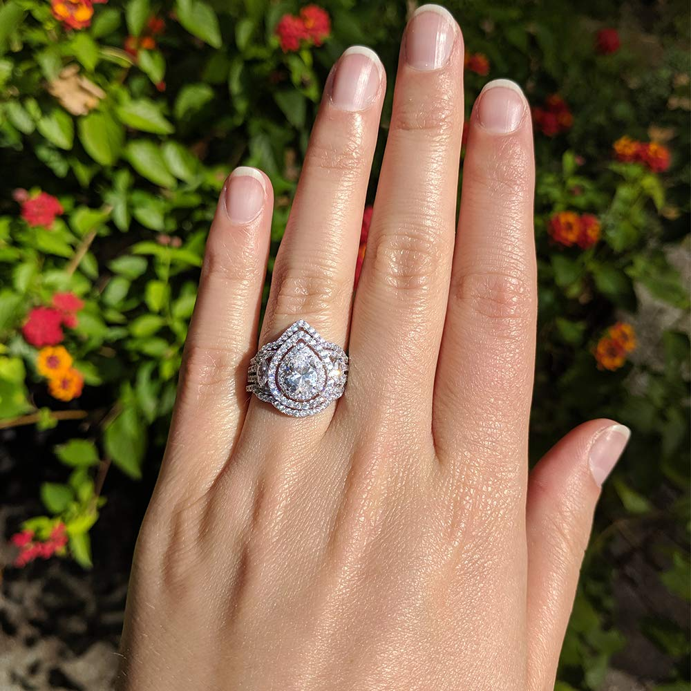 Sterling Silver Cubic Zirconia Dainty Two Piece Pear and Marquise Two Piece Pear Shaped Halo Engagement Ring CZ Trio Ring Stackable Bridal Set
