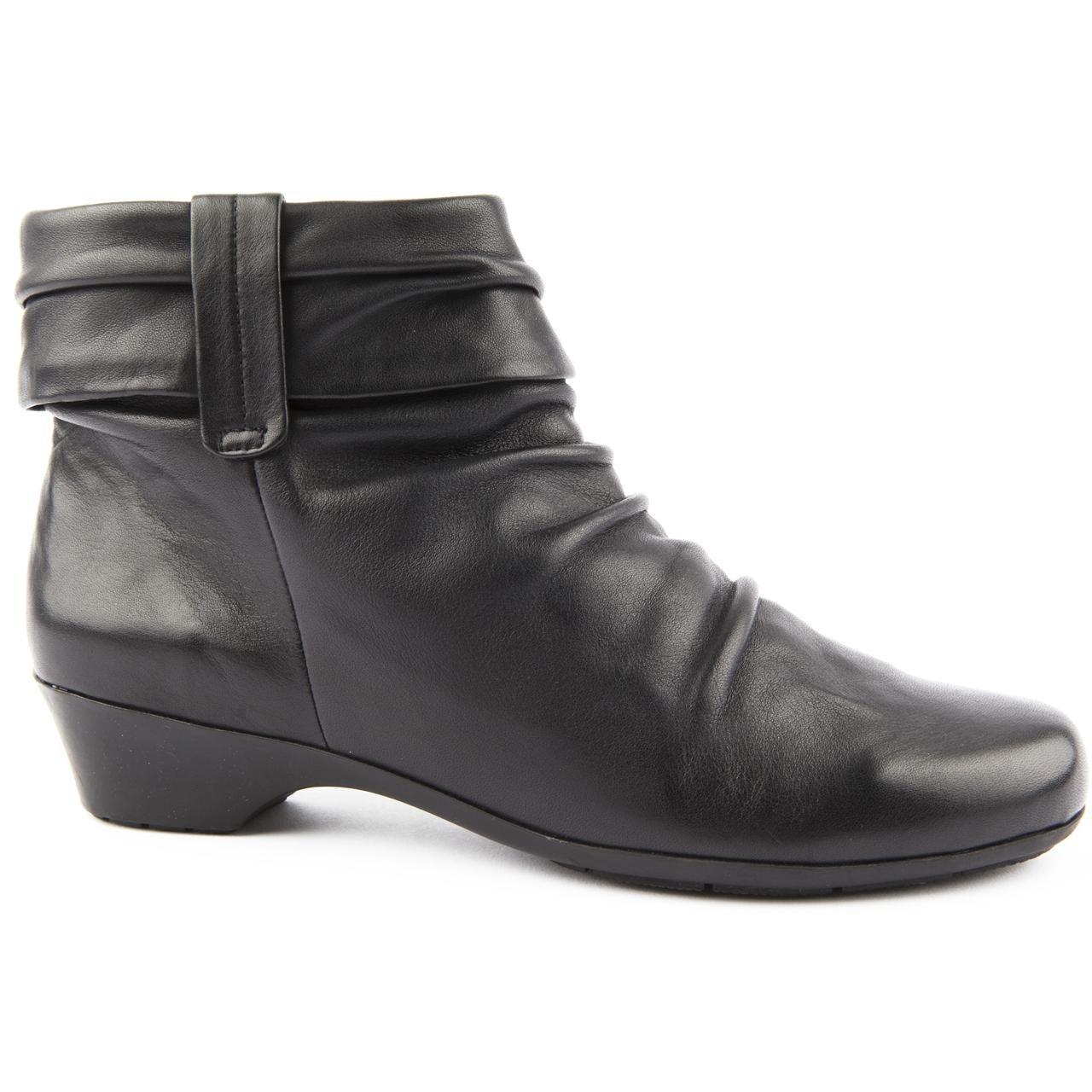 Ladies Clarks Wide Fit Matron Ella Black Ankle Boots