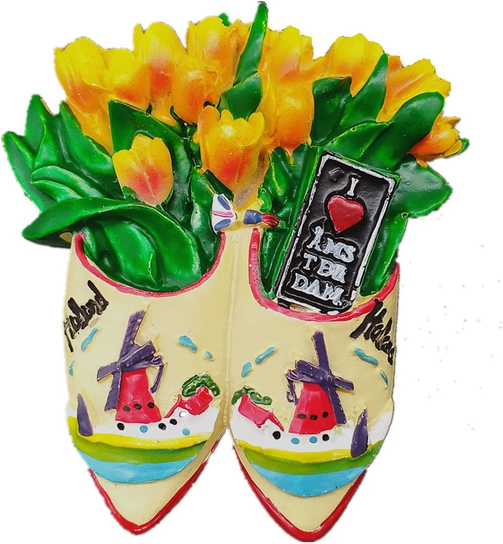 3D Tulip & Windmill of Amsterdam Holland Netherlands Shoes Shape Fridge Magnet Home & Kitchen Decor Magnetic Sticker Refrigerator Magnet Travel Souvenir Gift