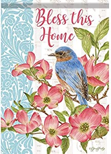 Carson Home Accents FlagTrends 48942 Bluebird and Dogwoods Classic Outdoor Large Garden Flag