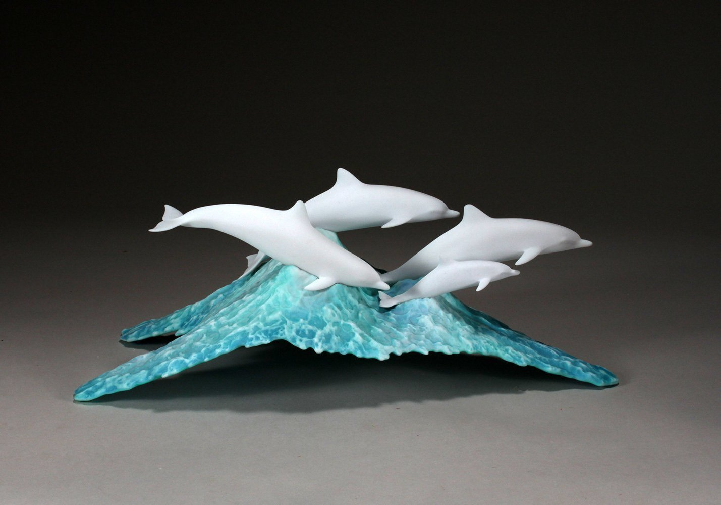 Dolphin School Sculpture on Blue Wave by John Perry Statue Airbrushed 11in Long