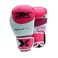 3x Deportes Guantes de boxeo de piel de muay thai Sparring guantes de entrenamiento de boxeo de perforación, 10oz, 12oz, 14oz, 16oz