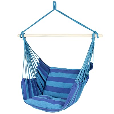 Best Choice Products Hammock Hanging Rope Chair Porch Swing Seat Patio Camping Portable - Blue Stripe : Garden & Outdoor