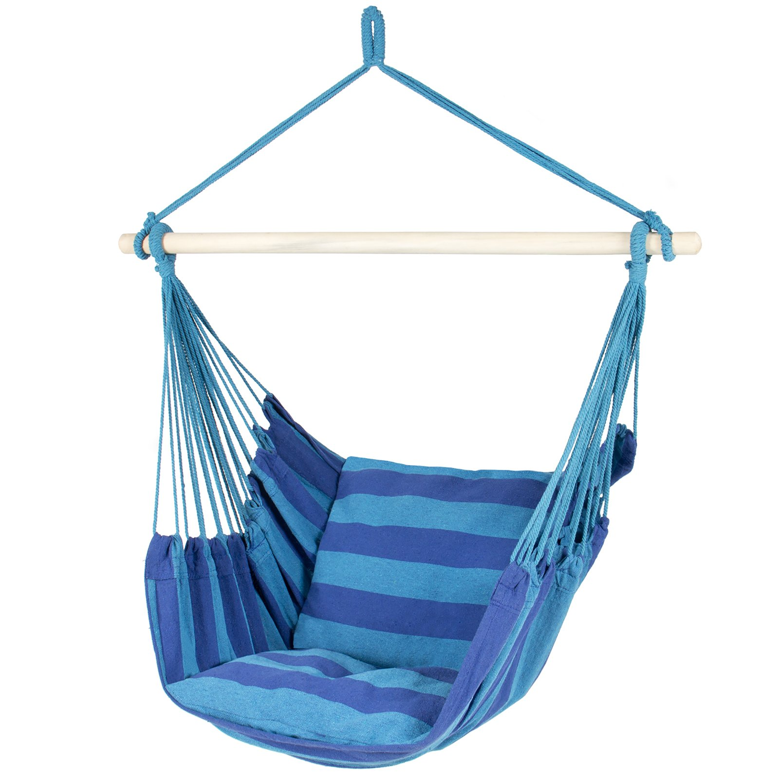 Best ChoiceProducts Hammock Hanging Rope Chair Porch Swing Seat Patio Camping Portable, Blue Stripe