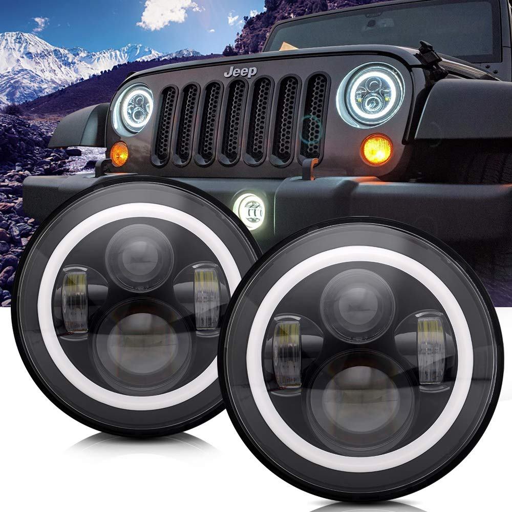 Turbosii Dot Approved 7 Round Black Led Headlight With Jeep Liberty Tail Light Wiring Diagram Free Download High Low Beam White Drl Amber Turn Signal For Wrangler Jk Tj Lj Cj Hummer H1 H2