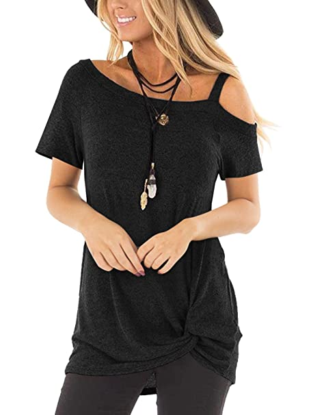 f9c9088af0e Women's Comfy Casual Cold Shoulder Tops Long Sleeve Side Twist Knotted  Blouse Tunic T Shirts (