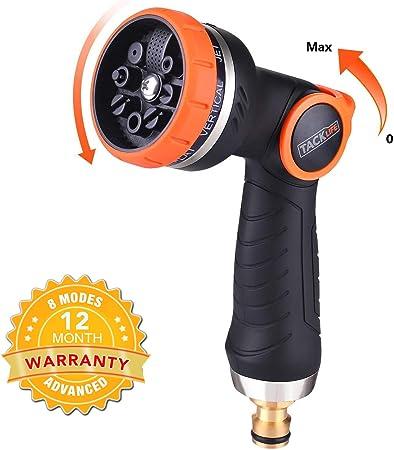 TACKLIFE Pistola de riego, Pistola de Jardín con Boquilla Metálica, 8 Modos Diferentes, Nueva Patente de Control con una Solo Mano, para Lavado de Autos, Riego de Plantas y Ducha de Mascotas-GHN2A: