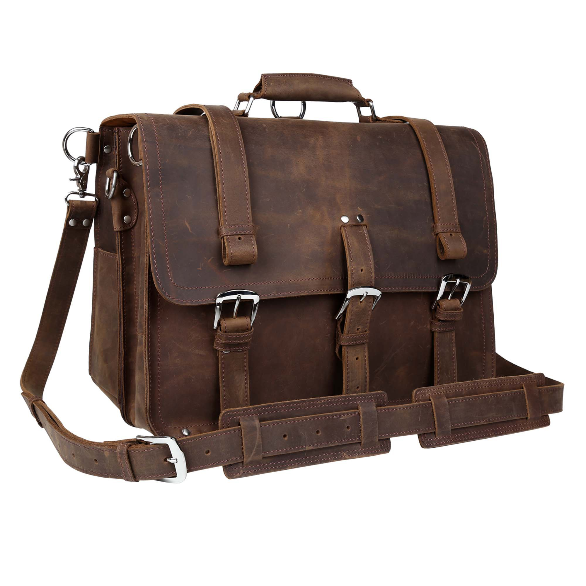 Wildken Genuine Leather Briefcase, Men's Shoulder Handbag Messenger Laptop Bag by Kissloves