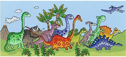 Kit per punto croce Fun motivo dinosauri