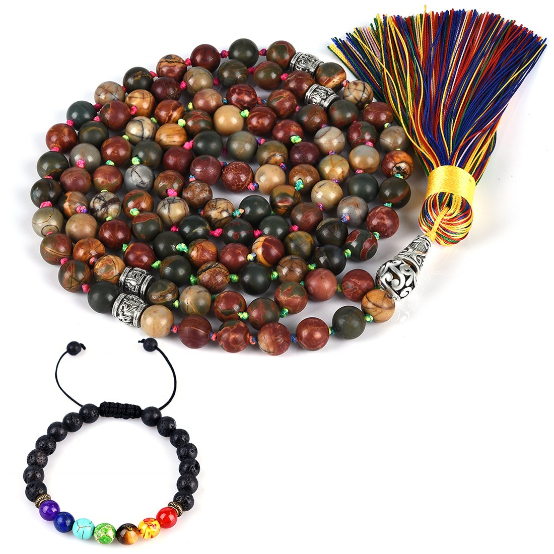 CAT EYE JEWELS 8mm Mala Beads Necklace Yoga Meditation 108 Hand Knotted Picasso Jasper Japa Mala Buddhist Prayer Beads Tassel Necklace Healing Lava Rock Beads Diffuser Bracelet