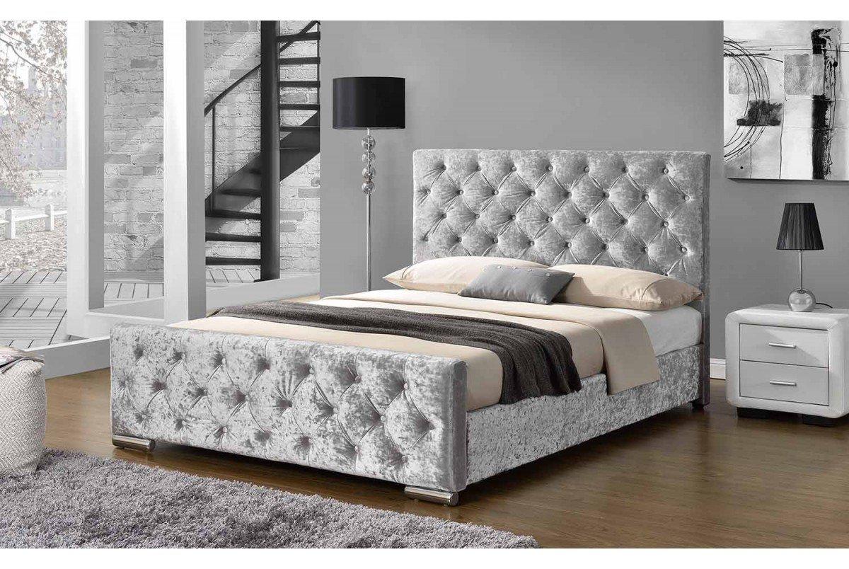Buckingham Stoff gepolsterten Silber Crushed Samt Bett – Doppelbett ...