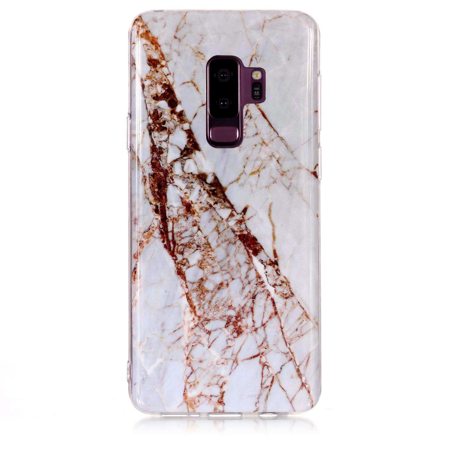 for Samsung Galaxy S9 Plus Marble Case with Screen Protector,Unique Pattern Design Skin Ultra Thin Slim Fit Soft Gel Silicone Case,QFFUN Shockproof Anti-Scratch Protective Back Cover - White by QFFUN (Image #2)
