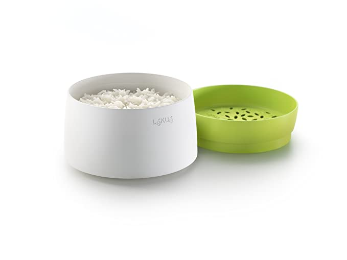 Lékué Recepiente para cocinar arroz, Silicona, Verde, 13.1 cm
