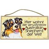 Holzschild Tierschild Hund Deko Australian Shepherd