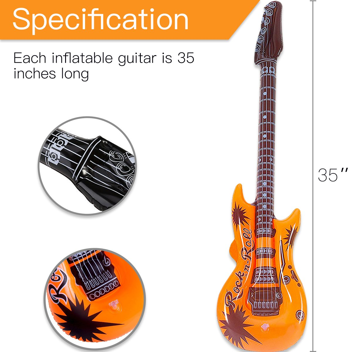 Novelty Place Inflatable Guitar Set for Kids & Adults, 35 Inches (Pack of 12) by Novelty Place (Image #4)