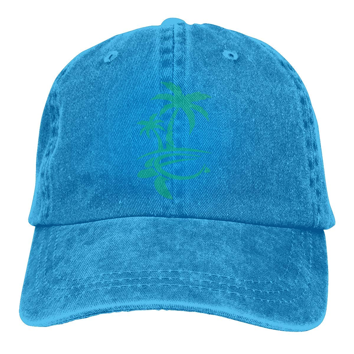 Hawaiian Palm Tree and Sea Turtle Mens Womens Adjustable Denim Baseball Cap Trucker Hat