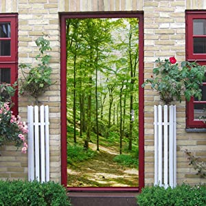 "ChezMax New Nature Design 3D Door Stickers PVC Mural Wall Sticker Removable Wallpaper Self Adhesive Decal for Home Office Renovation Decor Green Woods Pattern 30.3""W 78.7""H"