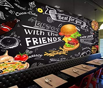 Comida rápida Burger Wallpaper 3D Mural Fondo de pared negro ...