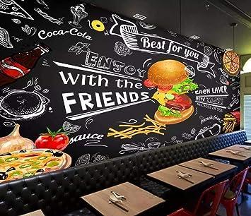 Comida rápida Burger Wallpaper 3D Mural Fondo de pared negro ...