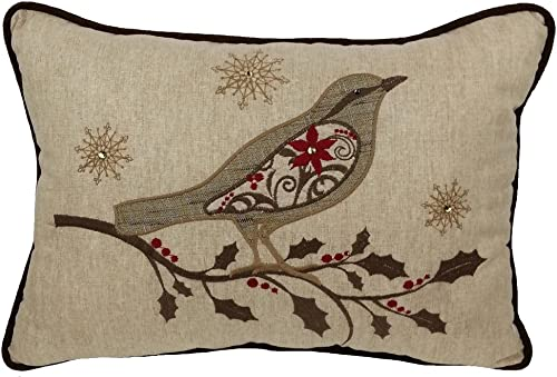 Xia Home Fashions Bird on Twig Embroidery Christmas Decorative Pillow with Polyester Filled, 13 by 18-Inch