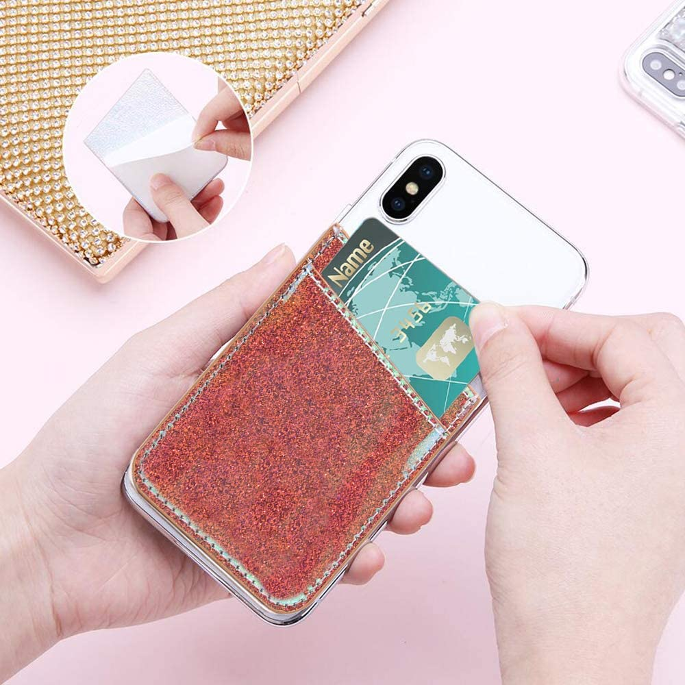 2-Pack Glitter Cell Phone Stick On Wallet Card Holder,FANSONG Smartphone Bling Leather Credit Cards Sleeve Pocket with 3M Adhesive Sticker Slim Card Slot for Girls Women