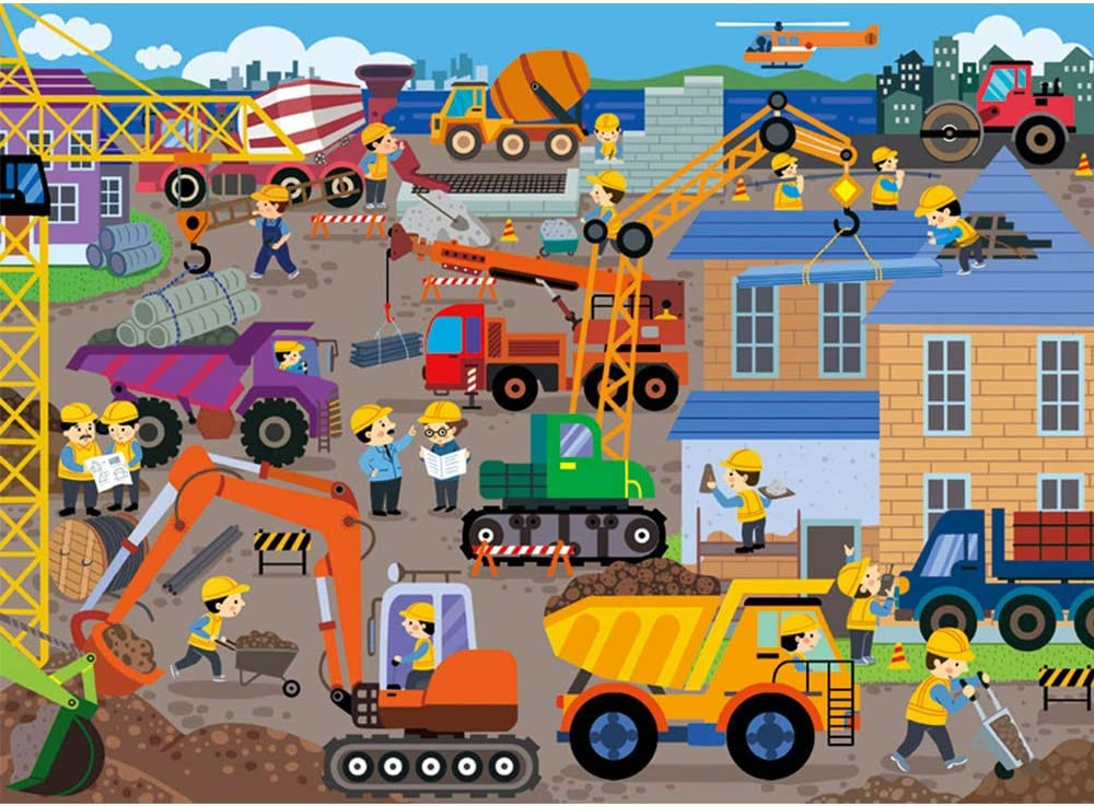 XLJ Puzzles in a Metal Box 100 Piece Jigsaw Puzzles for Kids Ages 4-8 Construction Site Puzzle for Children Educational Puzzle Games Toys Learning Toddler Puzzles