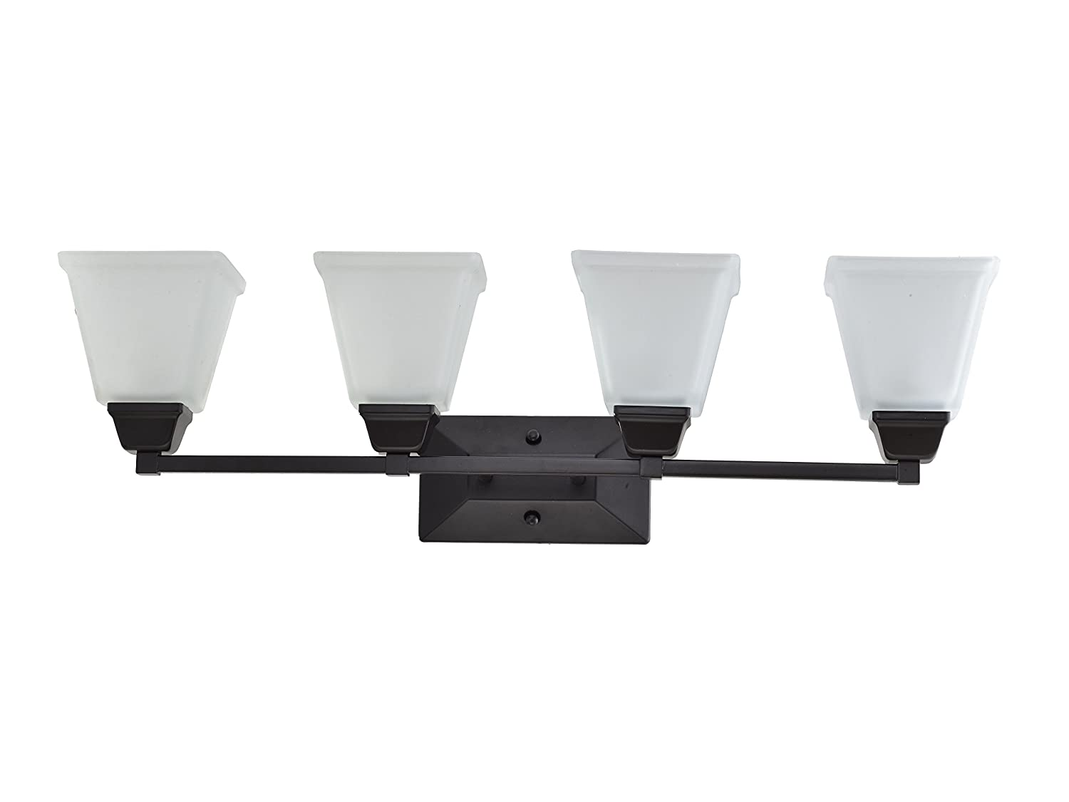 In home 4 light vanity bathroom fixture vf37 oil rubbed bronze finish with satin etched glass shade ul listed