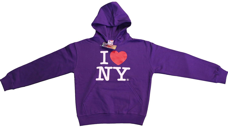 I Love NY New York Kids Hoodie Screen Print Heart Sweatshirt Purple