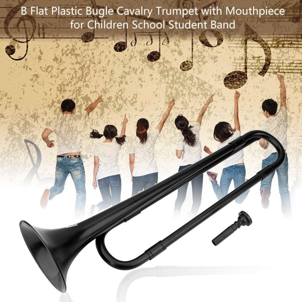 Plastic Trumpet Toy B Flat Trumpet Bugle Cavalry Trumpet Environmentally Friendly Plastic with Mouthpiece for Kids Band School Student(Black)