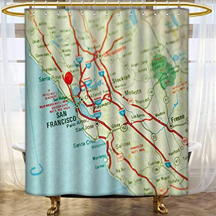 Anhounine Map Shower Curtains 3D Digital Printing Vintage Of San Francisco Bay Area With Red