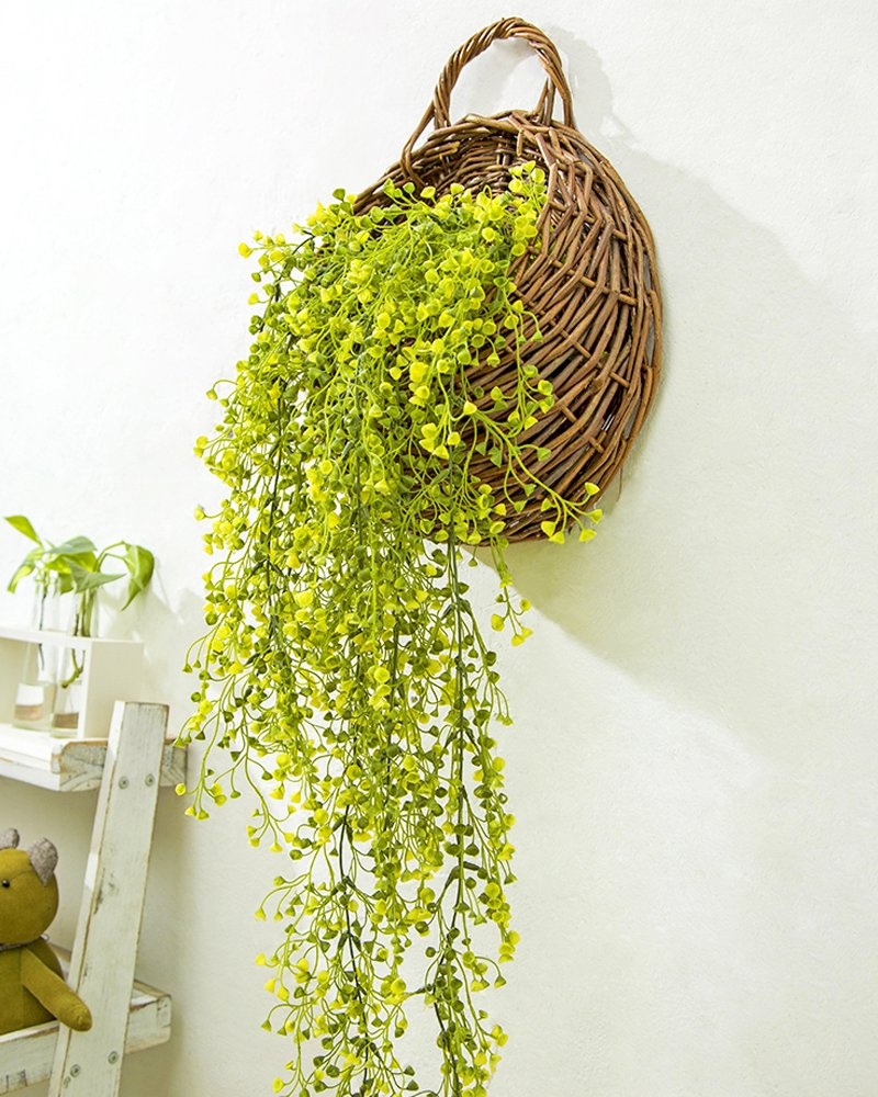 Mkono Wall Hanging Basket with Decorative Artificial Plant Vine for Home Garden Wedding Decor, Yellow by Mkono (Image #2)