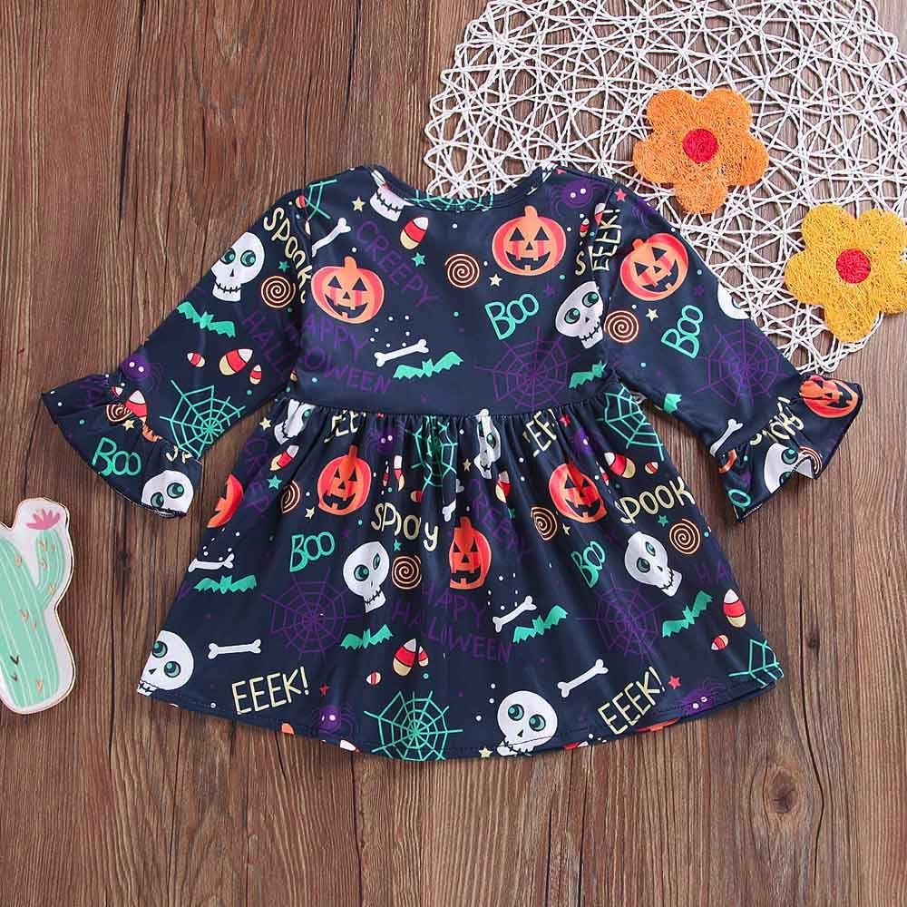2f46a1d0fc Amazon.com: Toddler Baby Girls Dress,Princess Pumpkin Flare Sleeve Cartoon  Print Dress Halloween Clothes (2-3T, Multicolor): Beauty
