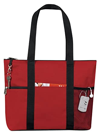 Amazon.com | Zipper Travel Tote Sports Gym Bag, Red by BAGS FOR ...
