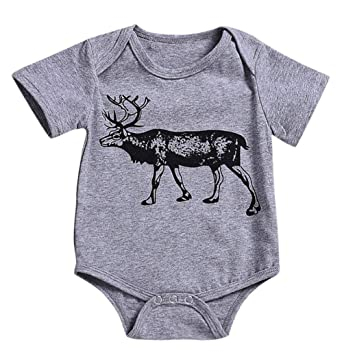 f5cb5f20a4 Amazon.com  Newborn Toddler Baby Boys Girls Jumpsuit Cartoon Deer Animal  Print Romper Onesie (0-3 Months