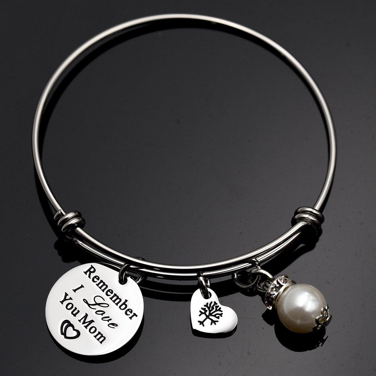 Remember I Love You Mom Bangle Bracelet (White) by LParkin (Image #4)