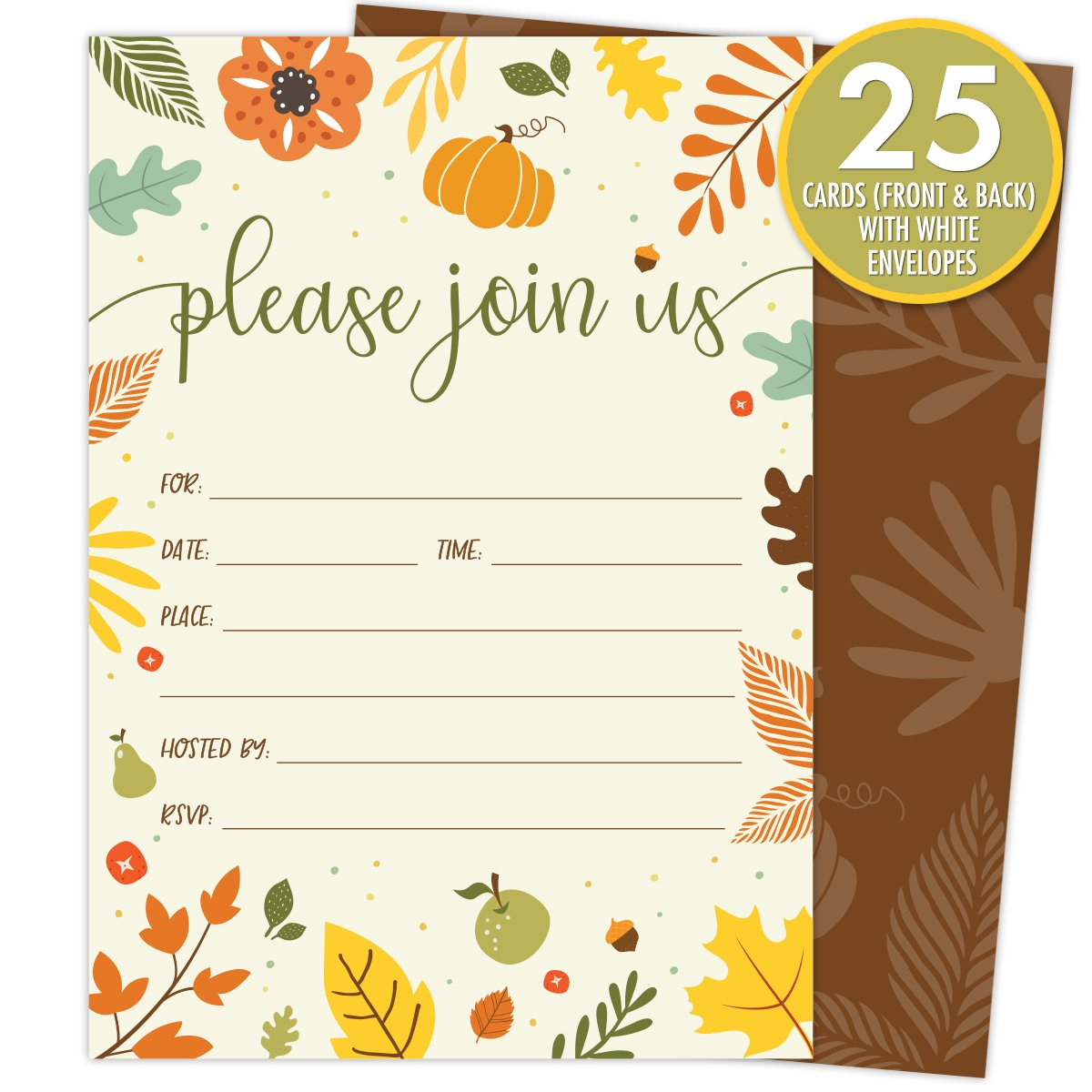 Koko Paper Co Fall Invitations in Autumn Colors with Pumpkin, Fruits and Florals. 25 Fill In Style Cards and Envelopes for Thanksgiving, Harvest Party, Birthday, Engagement, Bridal and Baby Shower, or by Koko Paper Co (Image #2)